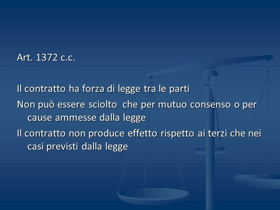 Art. 1372 c.c. Il contratto ha forza di legge tra le parti Non può essere sciolto che per mutuo consenso o per cause ammesse dalla legge Il contratto