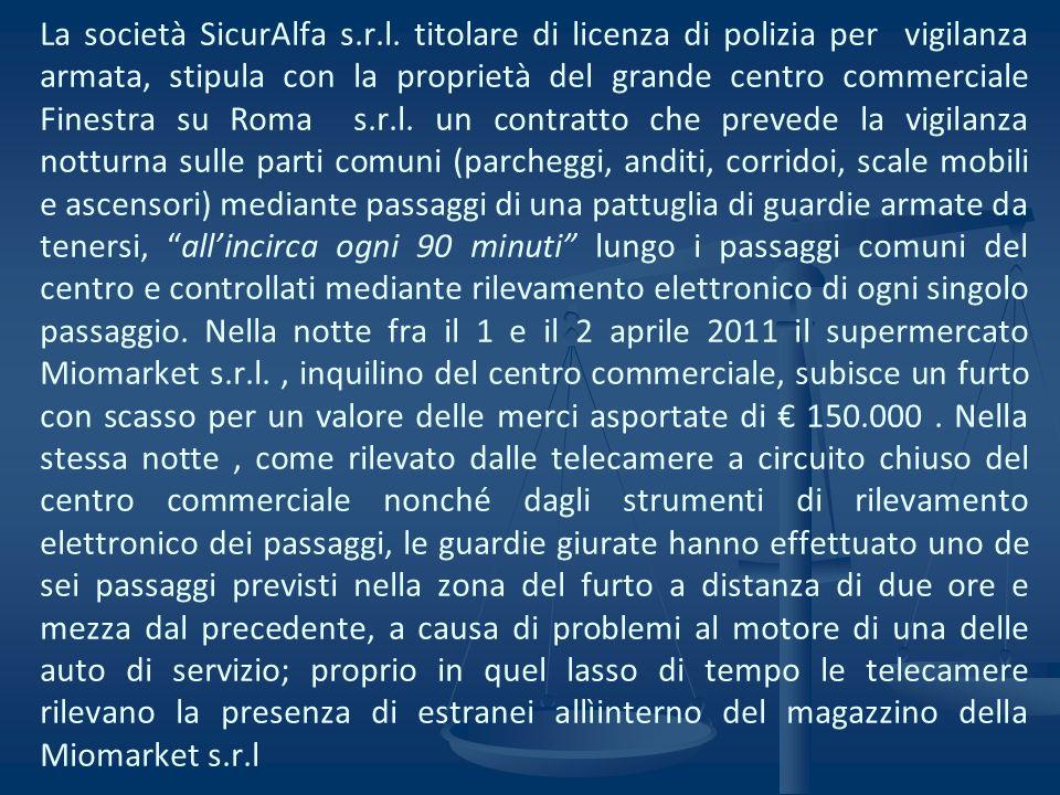 La società SicurAlfa s.r.l. titolare di licenza di polizia per vigilanza armata, stipula con la proprietà del grande centro commerciale Finestra su Ro