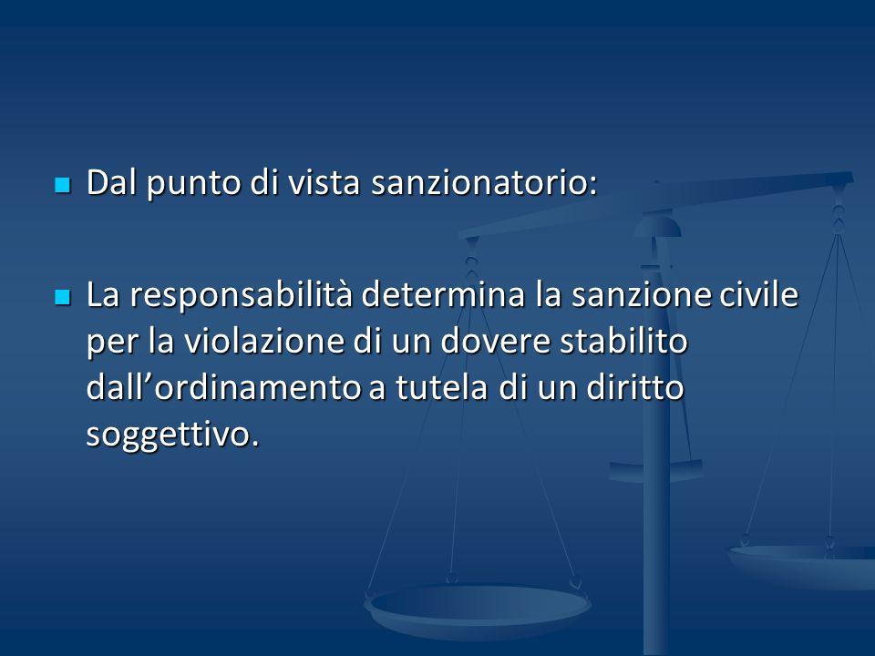 Dal punto di vista sanzionatorio: Dal punto di vista sanzionatorio: La responsabilità determina la sanzione civile per la violazione di un dovere stab