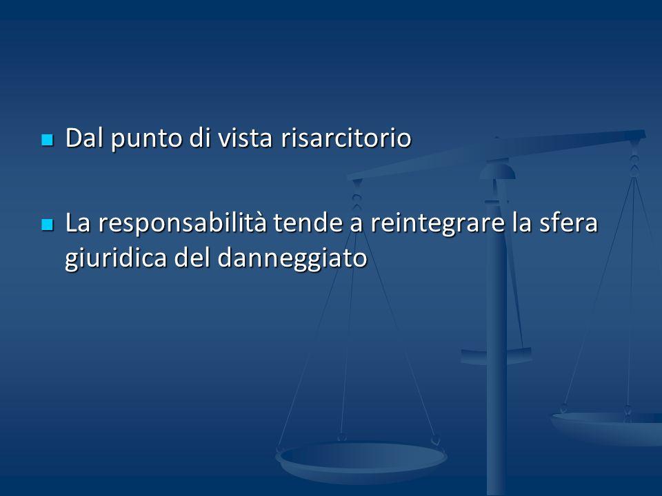 Dal punto di vista risarcitorio Dal punto di vista risarcitorio La responsabilità tende a reintegrare la sfera giuridica del danneggiato La responsabilità tende a reintegrare la sfera giuridica del danneggiato