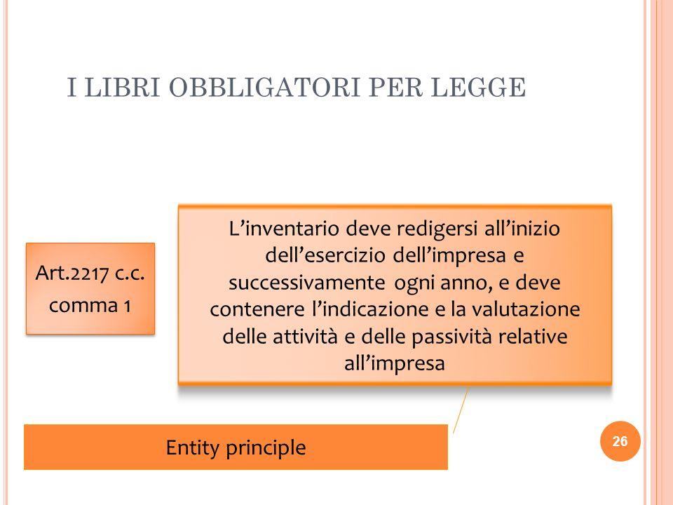 I LIBRI OBBLIGATORI PER LEGGE 26 Art.2217 c.c. comma 1 Art.2217 c.c. comma 1 Linventario deve redigersi allinizio dellesercizio dellimpresa e successi