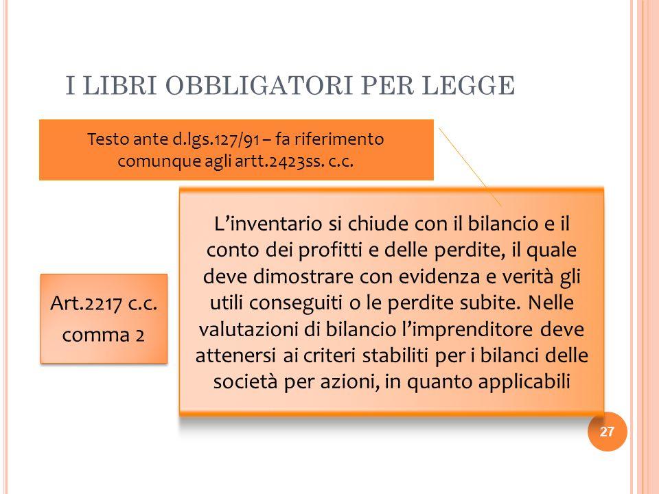 I LIBRI OBBLIGATORI PER LEGGE 27 Art.2217 c.c. comma 2 Art.2217 c.c. comma 2 Linventario si chiude con il bilancio e il conto dei profitti e delle per