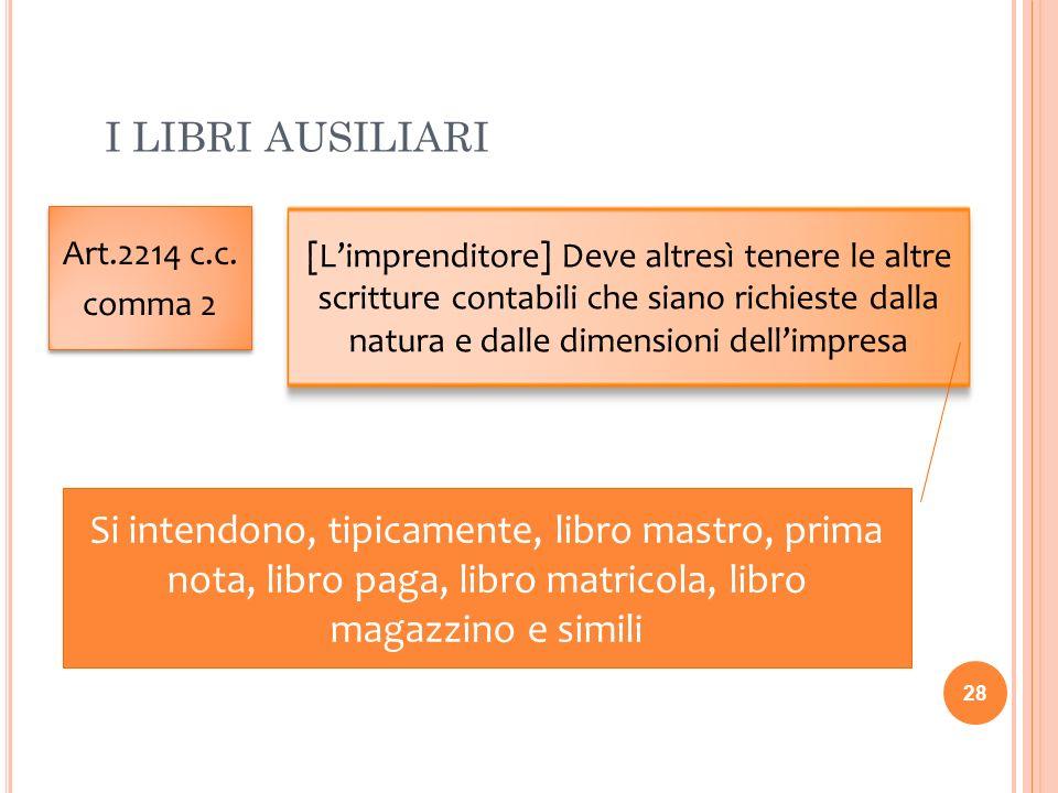 I LIBRI AUSILIARI 28 Art.2214 c.c. comma 2 Art.2214 c.c. comma 2 [Limprenditore] Deve altresì tenere le altre scritture contabili che siano richieste
