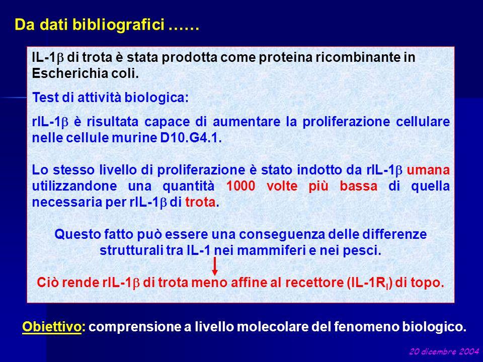 Da dati bibliografici …… IL-1 di trota è stata prodotta come proteina ricombinante in Escherichia coli. Test di attività biologica: rIL-1 è risultata
