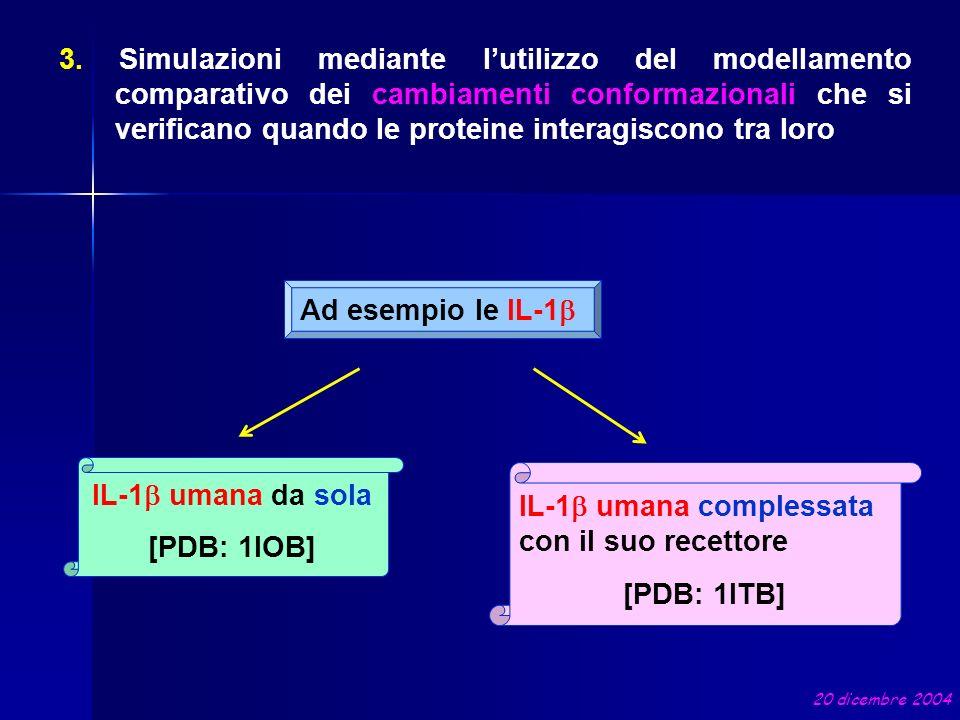 3. Simulazioni mediante lutilizzo del modellamento comparativo dei cambiamenti conformazionali che si verificano quando le proteine interagiscono tra