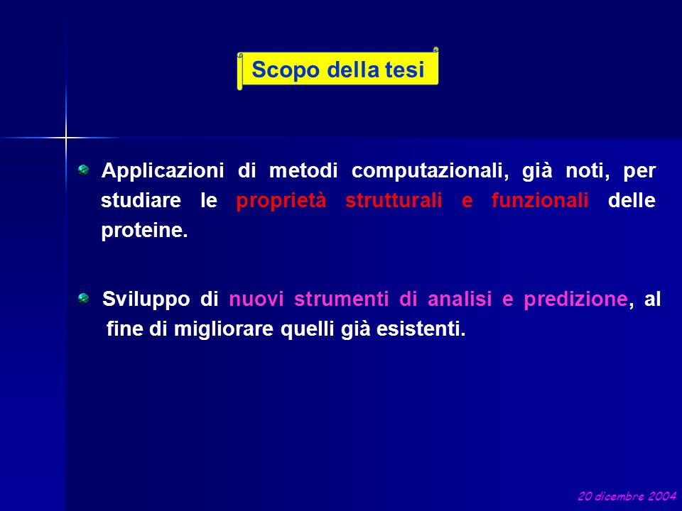 Scopo della tesi 20 dicembre 2004 Sviluppo di nuovi strumenti di analisi e predizione, al fine di migliorare quelli già esistenti. Applicazioni di met