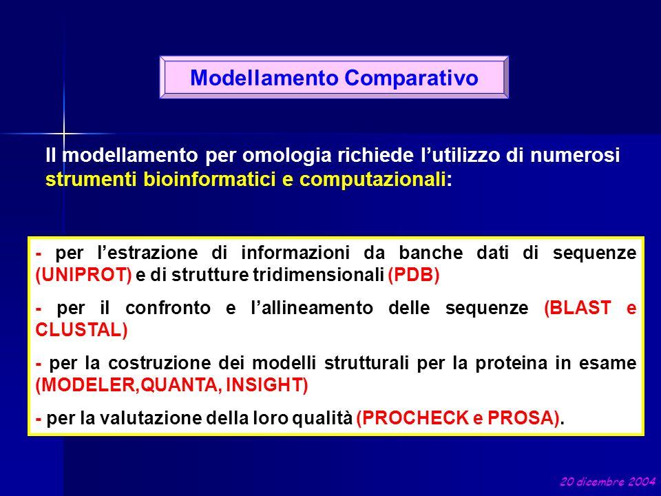 RICERCA DEL TEMPLATE ALLINEAMENTO MULTIPLO TARGET-TEMPLATE Modellamento comparativo PROTEINA TARGET BLAST CLUSTALW MODELLER VALUTAZIONE DEL MODELLO PROCHECK TARGET: AQYSKRREVQCSVTDSEKRSLVLVPNSMELHAVM…… TEMPLATE: VPIRQLHYRLRDEQQKSLVLSDPYELKALHLNGQN… MODELLO DELLA PROTEINA TARGET A PARTIRE DALLA STRUTTURA TEMPLATE 20 dicembre 2004