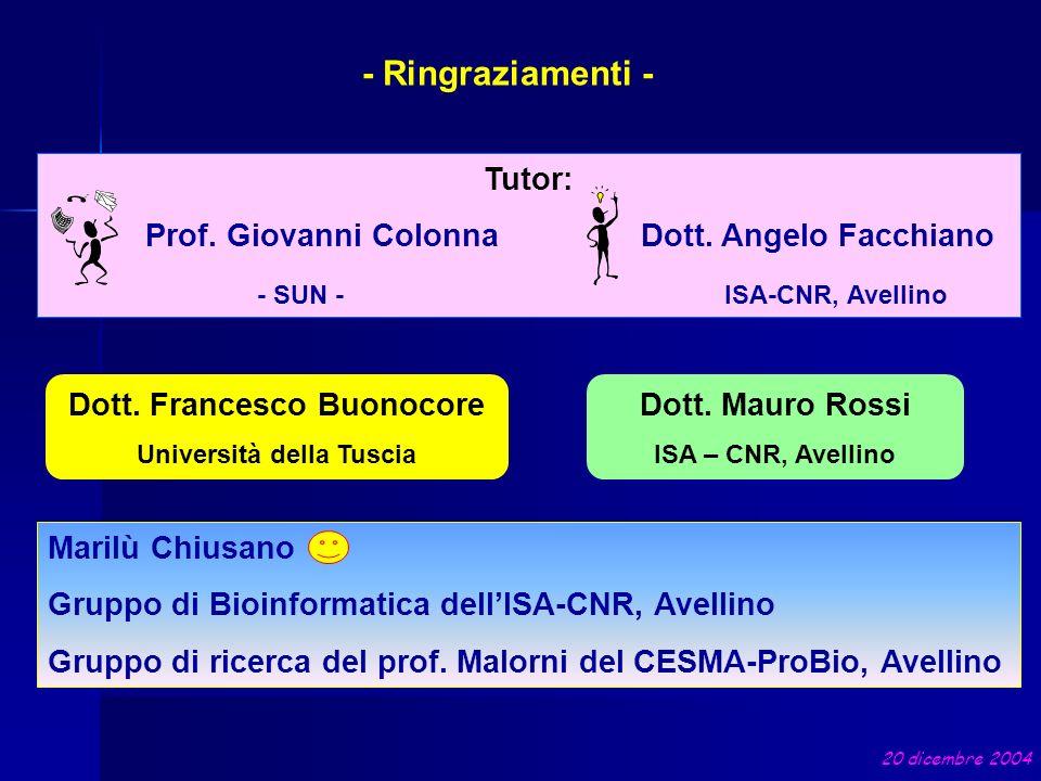 Tutor: Prof. Giovanni Colonna Dott. Angelo Facchiano - SUN - ISA-CNR, Avellino Dott. Francesco Buonocore Università della Tuscia - Ringraziamenti - Do