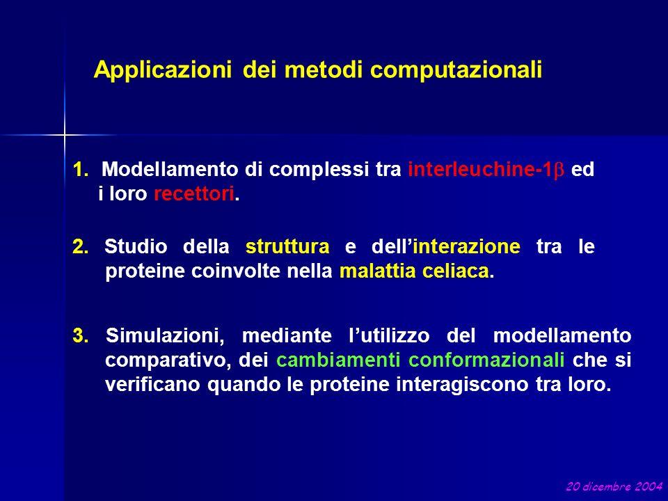 Applicazioni dei metodi computazionali 1. Modellamento di complessi tra interleuchine-1 ed i loro recettori. 2. Studio della struttura e dellinterazio