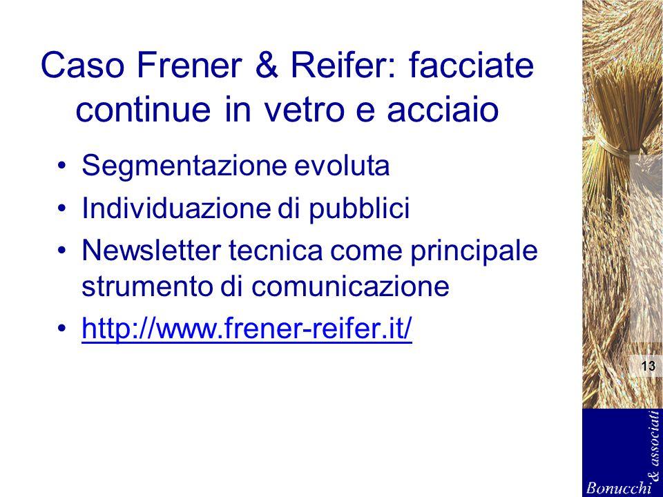 13 Caso Frener & Reifer: facciate continue in vetro e acciaio Segmentazione evoluta Individuazione di pubblici Newsletter tecnica come principale stru