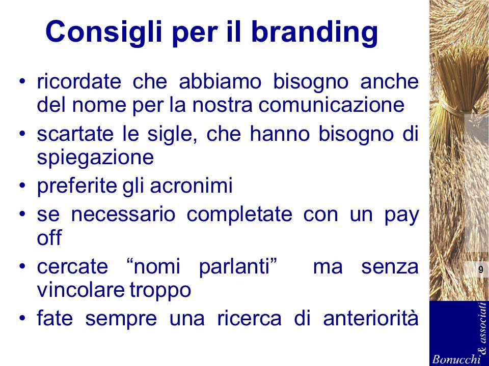 9 Consigli per il branding ricordate che abbiamo bisogno anche del nome per la nostra comunicazione scartate le sigle, che hanno bisogno di spiegazion