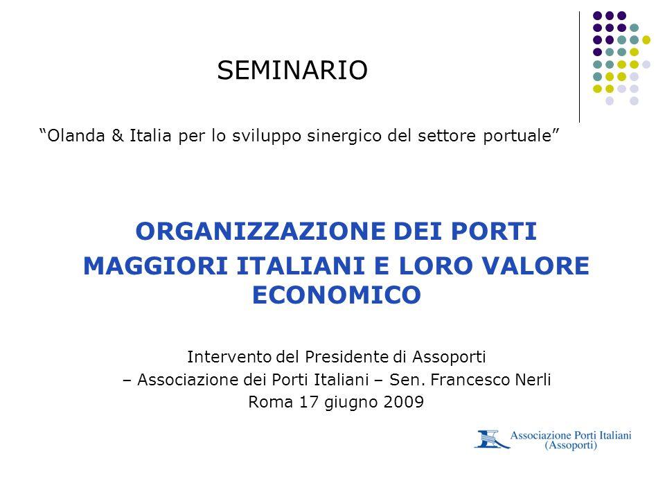ORGANIZZAZIONE DEI PORTI MAGGIORI ITALIANI E LORO VALORE ECONOMICO Intervento del Presidente di Assoporti – Associazione dei Porti Italiani – Sen. Fra