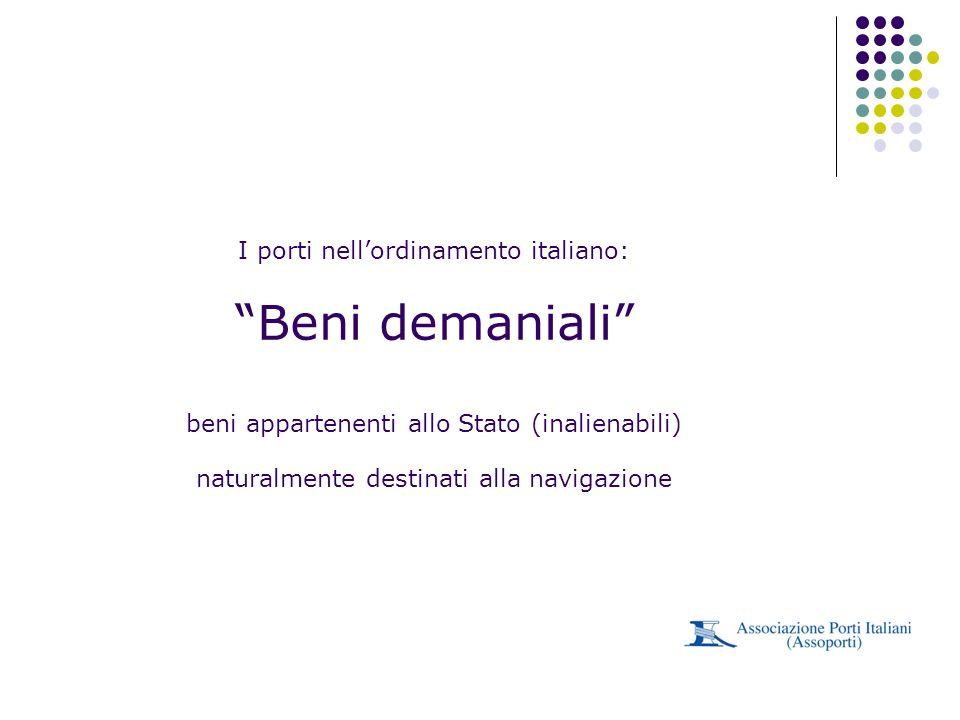 I porti nellordinamento italiano: Beni demaniali beni appartenenti allo Stato (inalienabili) naturalmente destinati alla navigazione