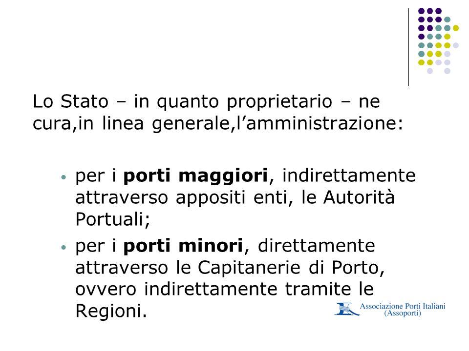 Lo Stato – in quanto proprietario – ne cura,in linea generale,lamministrazione: per i porti maggiori, indirettamente attraverso appositi enti, le Auto