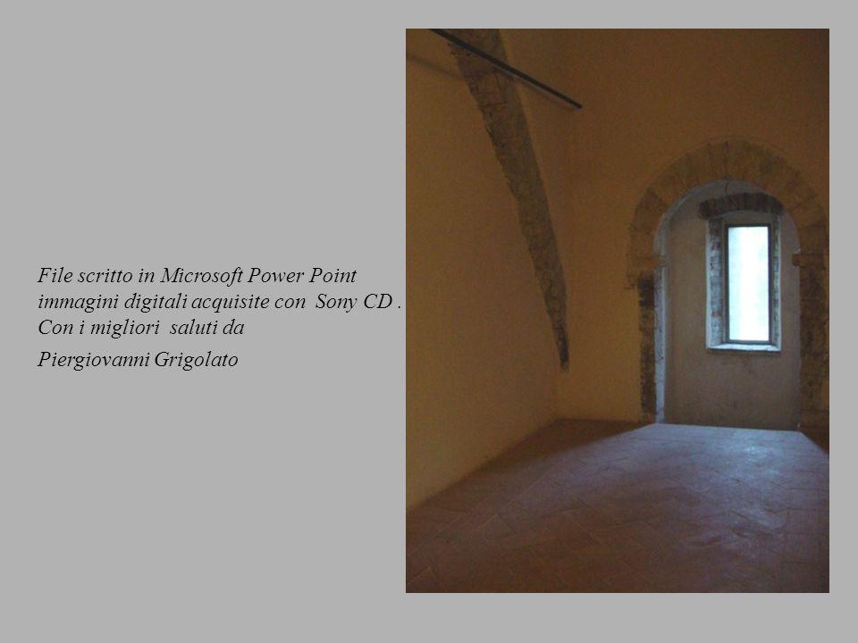 File scritto in Microsoft Power Point immagini digitali acquisite con Sony CD.