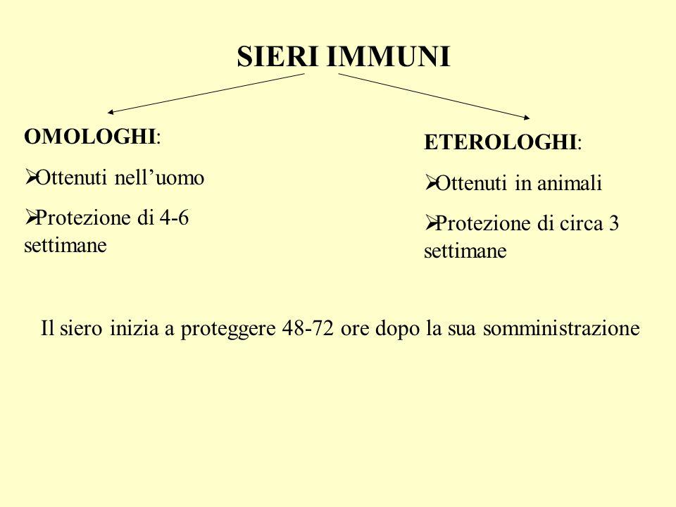 SIERI IMMUNI OMOLOGHI: Ottenuti nelluomo Protezione di 4-6 settimane ETEROLOGHI: Ottenuti in animali Protezione di circa 3 settimane Il siero inizia a proteggere 48-72 ore dopo la sua somministrazione