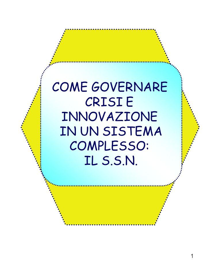 1 COME GOVERNARE CRISI E INNOVAZIONE IN UN SISTEMA COMPLESSO: IL S.S.N.