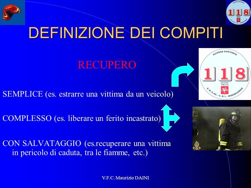 V.F.C. Maurizio DAINI DEFINIZIONE DEI COMPITI RECUPERO SEMPLICE (es. estrarre una vittima da un veicolo) COMPLESSO (es. liberare un ferito incastrato)