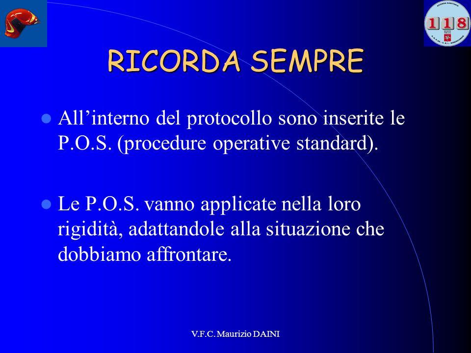 V.F.C. Maurizio DAINI RICORDA SEMPRE Allinterno del protocollo sono inserite le P.O.S. (procedure operative standard). Le P.O.S. vanno applicate nella