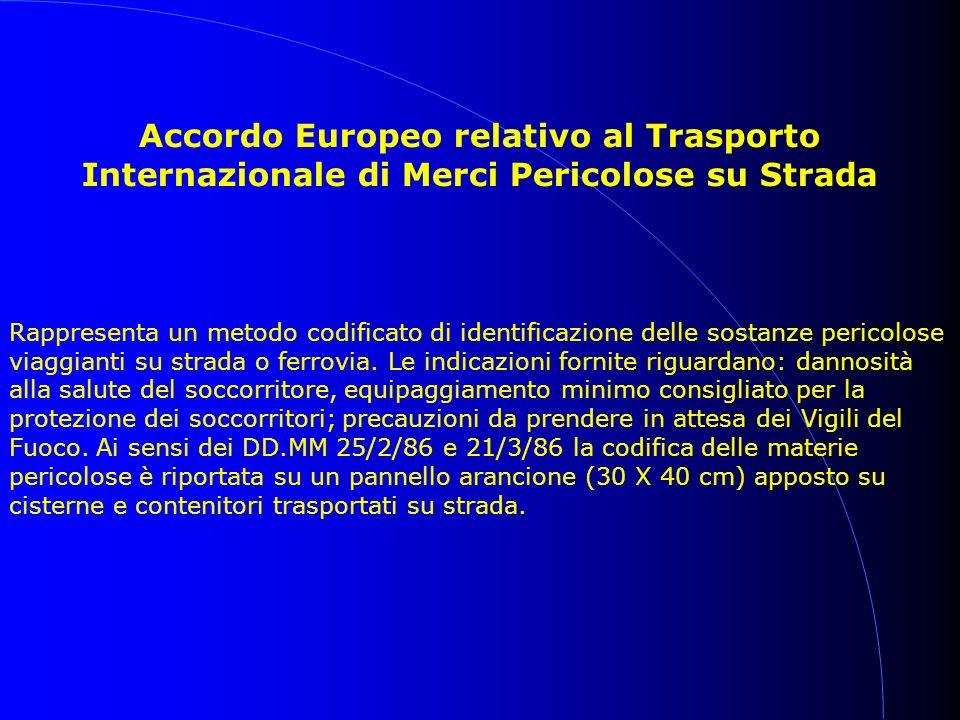Accordo Europeo relativo al Trasporto Internazionale di Merci Pericolose su Strada Rappresenta un metodo codificato di identificazione delle sostanze