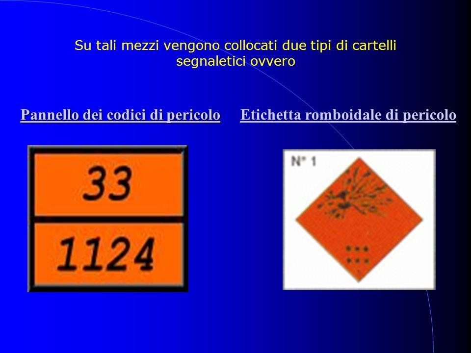 Su tali mezzi vengono collocati due tipi di cartelli segnaletici ovvero Pannello dei codici di pericolo Pannello dei codici di pericoloEtichetta rombo