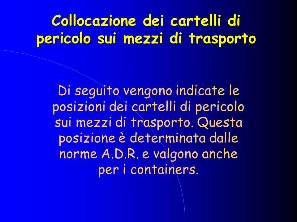 Collocazione dei cartelli di pericolo sui mezzi di trasporto Di seguito vengono indicate le posizioni dei cartelli di pericolo sui mezzi di trasporto.