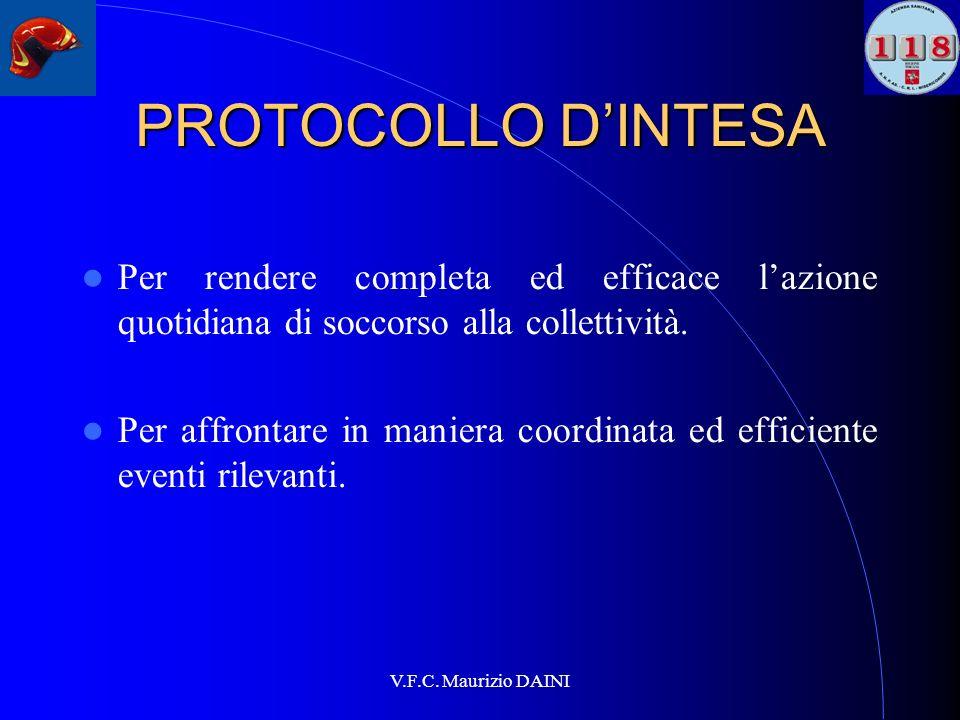 V.F.C. Maurizio DAINI PROTOCOLLO DINTESA Per rendere completa ed efficace lazione quotidiana di soccorso alla collettività. Per affrontare in maniera