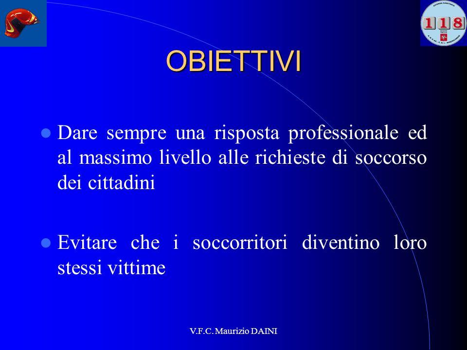 V.F.C. Maurizio DAINI OBIETTIVI Dare sempre una risposta professionale ed al massimo livello alle richieste di soccorso dei cittadini Evitare che i so