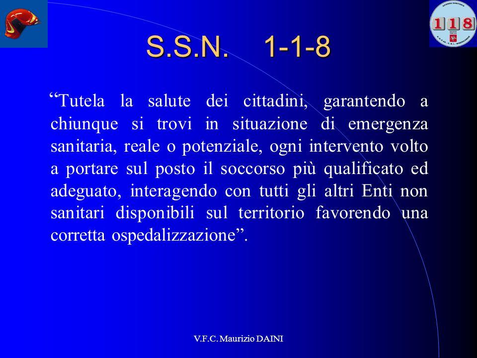 V.F.C. Maurizio DAINI S.S.N. 1-1-8 Tutela la salute dei cittadini, garantendo a chiunque si trovi in situazione di emergenza sanitaria, reale o potenz