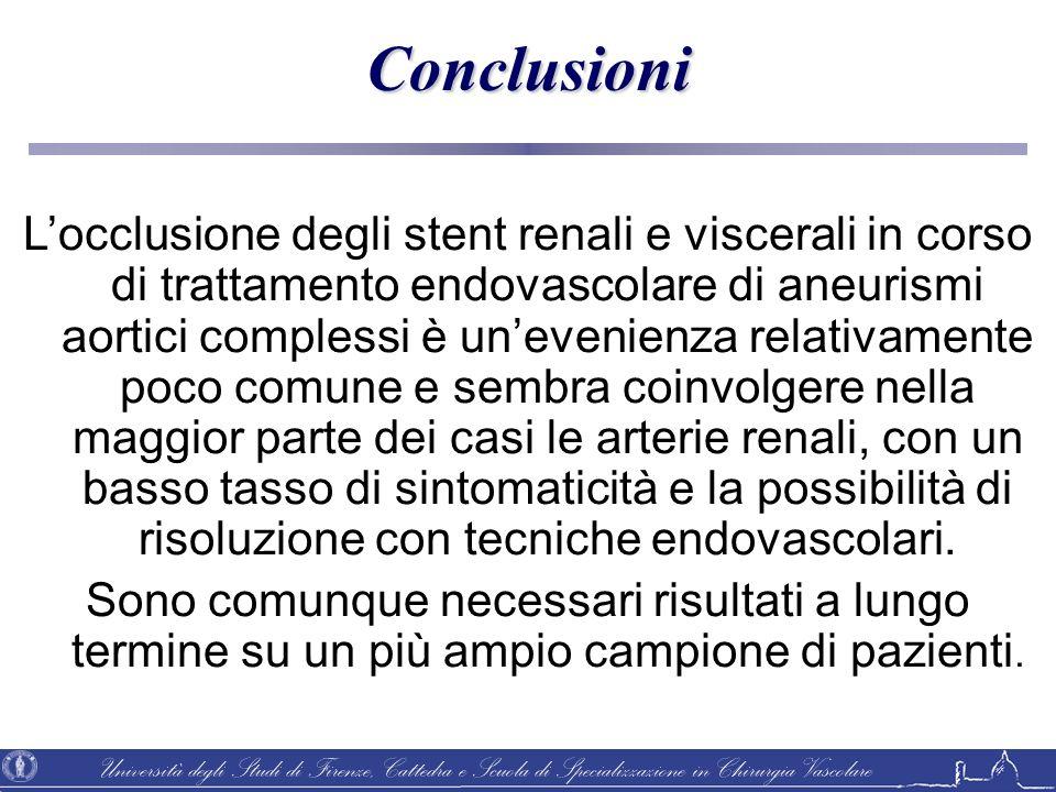 Università degli Studi di Firenze, Cattedra e Scuola di Specializzazione in Chirurgia Vascolare Locclusione degli stent renali e viscerali in corso di