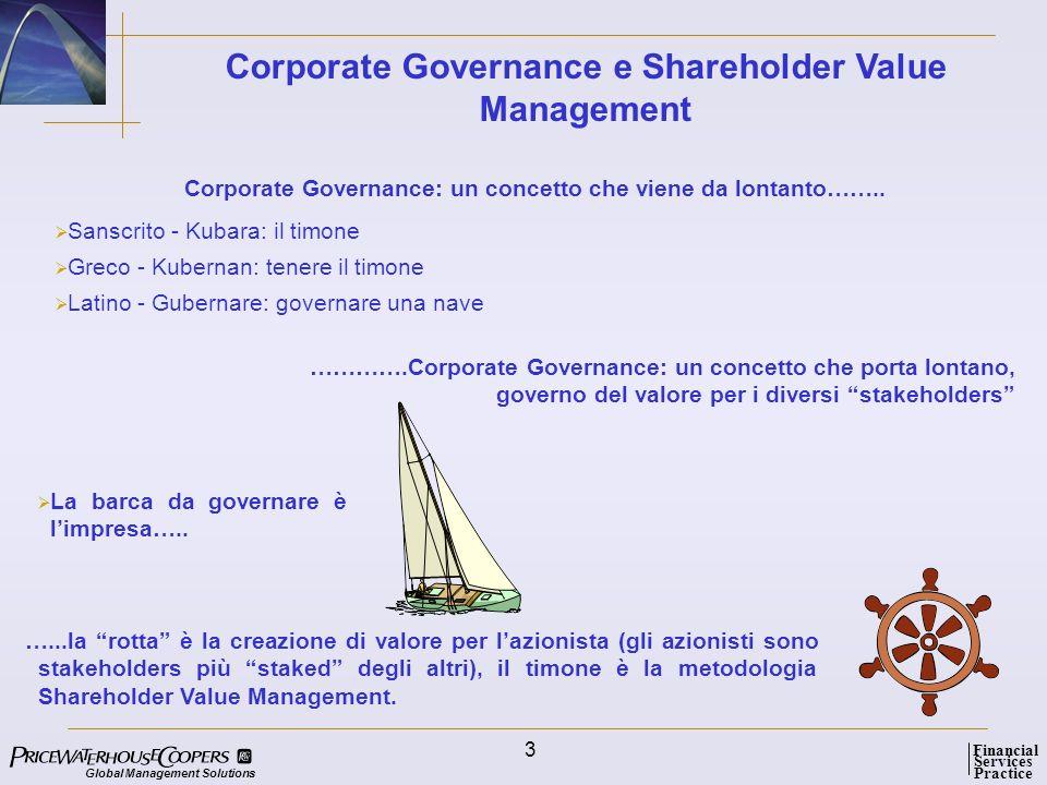Global Management Solutions Services Practice Financial 4 Parlare di Corporate Governance significa riferirsi a concetti di indirizzo, gestione, controllo, responsabilità e comunicazione.