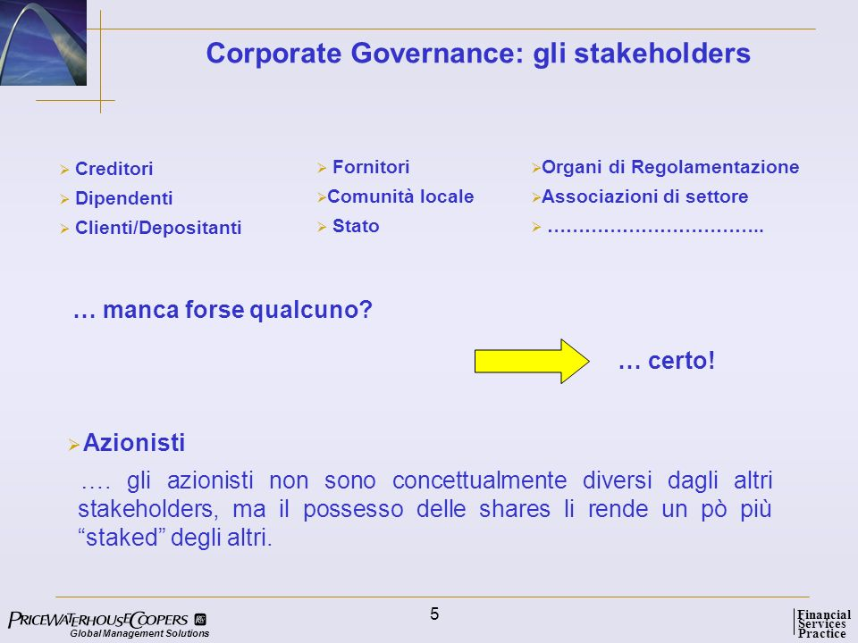 Global Management Solutions Services Practice Financial 5 Corporate Governance: gli stakeholders Creditori Dipendenti Clienti/Depositanti Fornitori Co