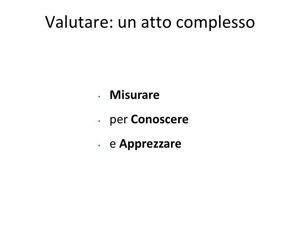 Valutare: un atto complesso Misurare per Conoscere e Apprezzare