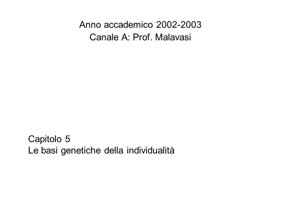 Capitolo 5 Le basi genetiche della individualità Anno accademico 2002-2003 Canale A: Prof. Malavasi