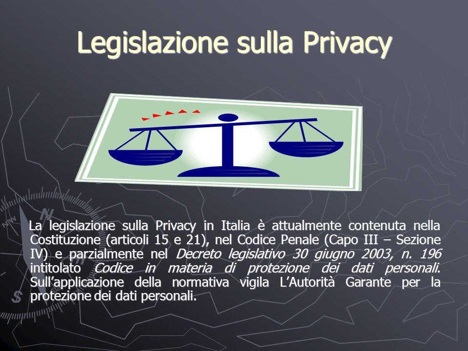 Legislazione sulla Privacy La legislazione sulla Privacy in Italia è attualmente contenuta nella Costituzione (articoli 15 e 21), nel Codice Penale (Capo III – Sezione IV) e parzialmente nel Decreto legislativo 30 giugno 2003, n.
