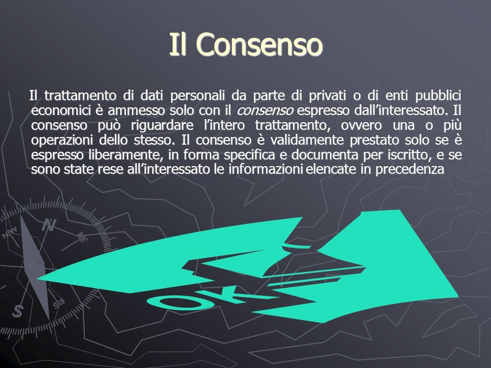 Il Consenso Il trattamento di dati personali da parte di privati o di enti pubblici economici è ammesso solo con il consenso espresso dallinteressato.