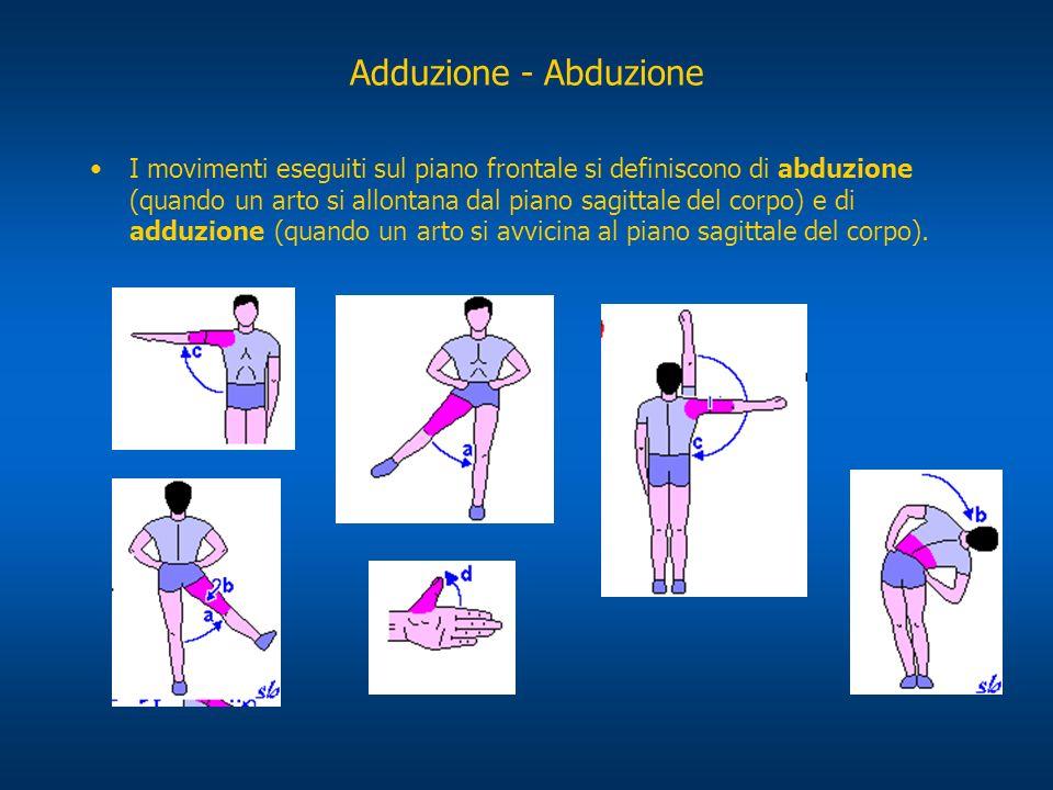 Adduzione - Abduzione I movimenti eseguiti sul piano frontale si definiscono di abduzione (quando un arto si allontana dal piano sagittale del corpo)