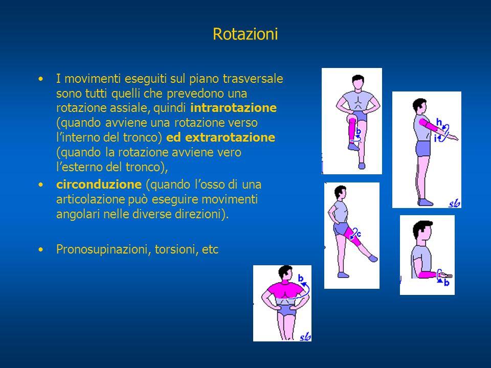 Rotazioni I movimenti eseguiti sul piano trasversale sono tutti quelli che prevedono una rotazione assiale, quindi intrarotazione (quando avviene una