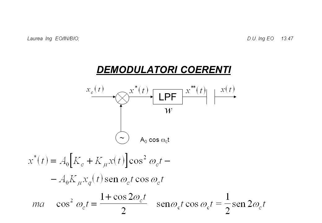 Laurea Ing EO/IN/BIO; D.U. Ing EO 13.47 DEMODULATORI COERENTI LPF ~ A 0 cos c t