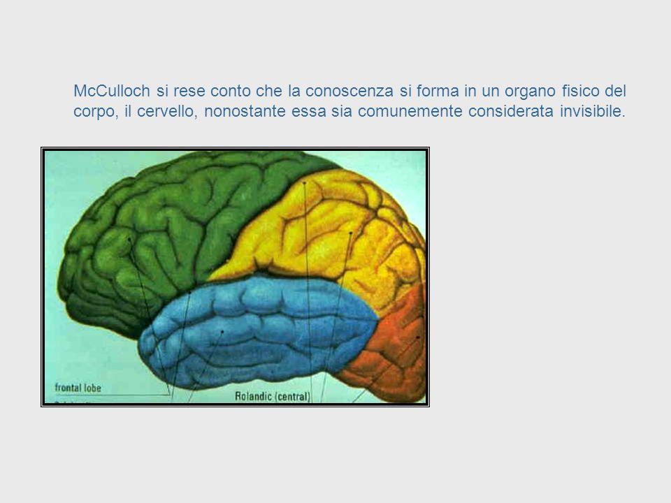 Epistemologia = Studio della Conoscenza McCulloch trovò lesistenza di un collegamento tra scienza e neurofisiologia ed una branca della filosofia chia