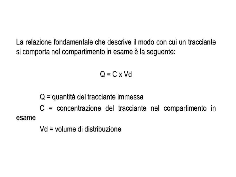 La relazione fondamentale che descrive il modo con cui un tracciante si comporta nel compartimento in esame è la seguente: Q = C x Vd Q = quantità del