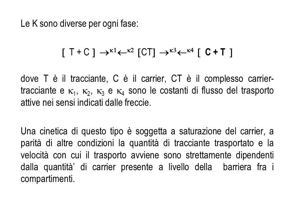 Le K sono diverse per ogni fase: T + C CT C + T dove T è il tracciante, C è il carrier, CT è il complesso carrier- tracciante e 1, 2, 3 e 4 sono le co