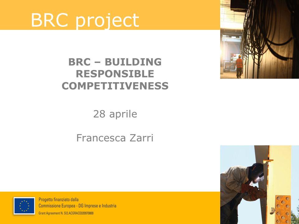 BRC project - Building Responsible Competitiveness PARTNER DI PROGETTO Project leader: 10 partner, 5 paesi: Italia, Spagna, Portogallo, Austria, Ungheria Durata: 18 mesi (1 nov.