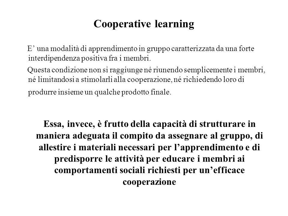Cooperative learning E una modalità di apprendimento in gruppo caratterizzata da una forte interdipendenza positiva fra i membri.