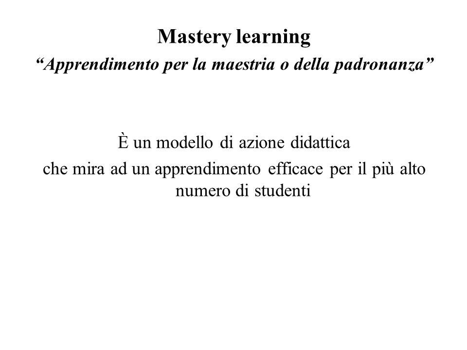 Mastery learning Apprendimento per la maestria o della padronanza È un modello di azione didattica che mira ad un apprendimento efficace per il più alto numero di studenti