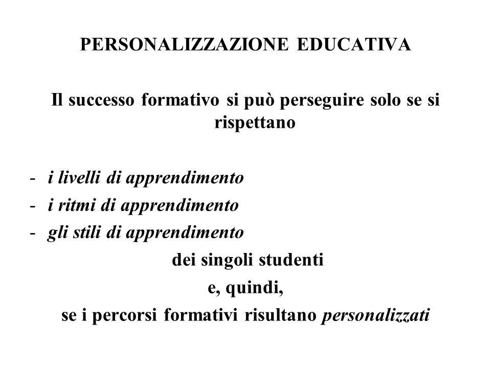 PERSONALIZZAZIONE EDUCATIVA Il successo formativo si può perseguire solo se si rispettano -i livelli di apprendimento -i ritmi di apprendimento -gli stili di apprendimento dei singoli studenti e, quindi, se i percorsi formativi risultano personalizzati