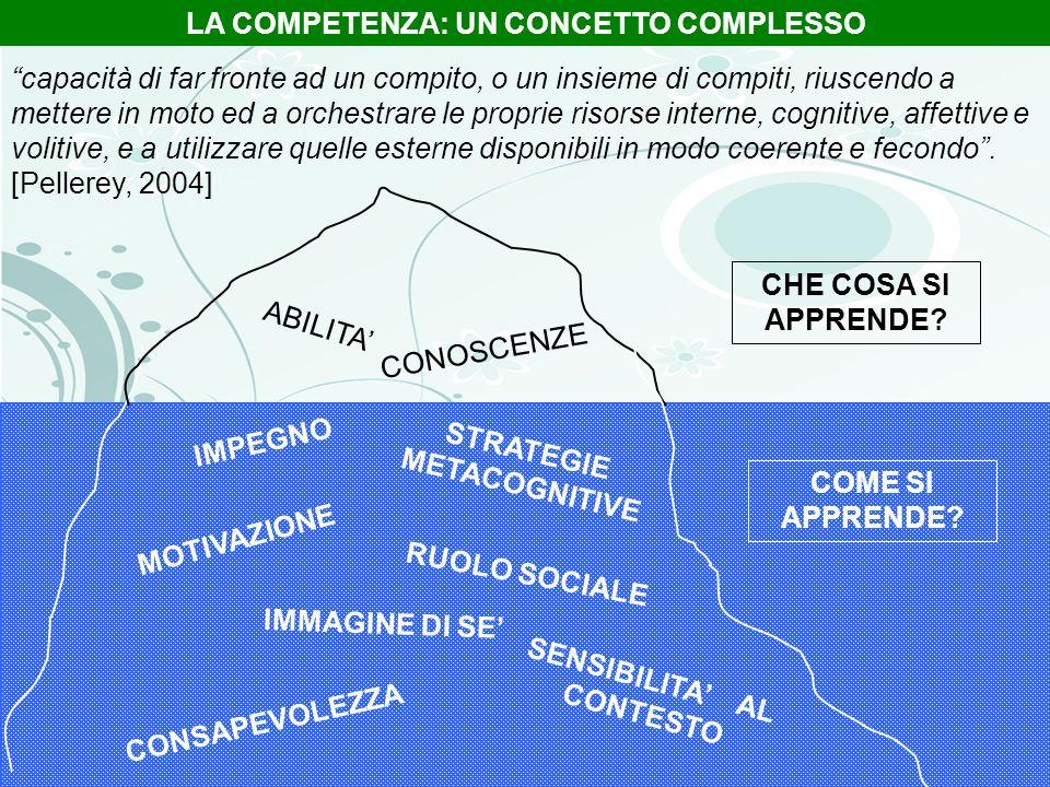 ABILITA CONOSCENZE IMMAGINE DI SE SENSIBILITA AL CONTESTO CONSAPEVOLEZZA MOTIVAZIONE STRATEGIE METACOGNITIVE RUOLO SOCIALE IMPEGNO LA COMPETENZA: UN C