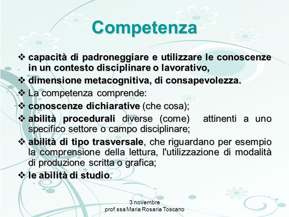 3 novembre prof.ssa Maria Rosaria Toscano Competenza capacità di padroneggiare e utilizzare le conoscenze in un contesto disciplinare o lavorativo, ca