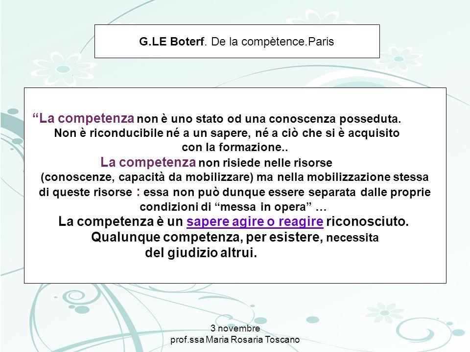 3 novembre prof.ssa Maria Rosaria Toscano G.LE Boterf. De la compètence.Paris La competenza non è uno stato od una conoscenza posseduta. Non è ricondu