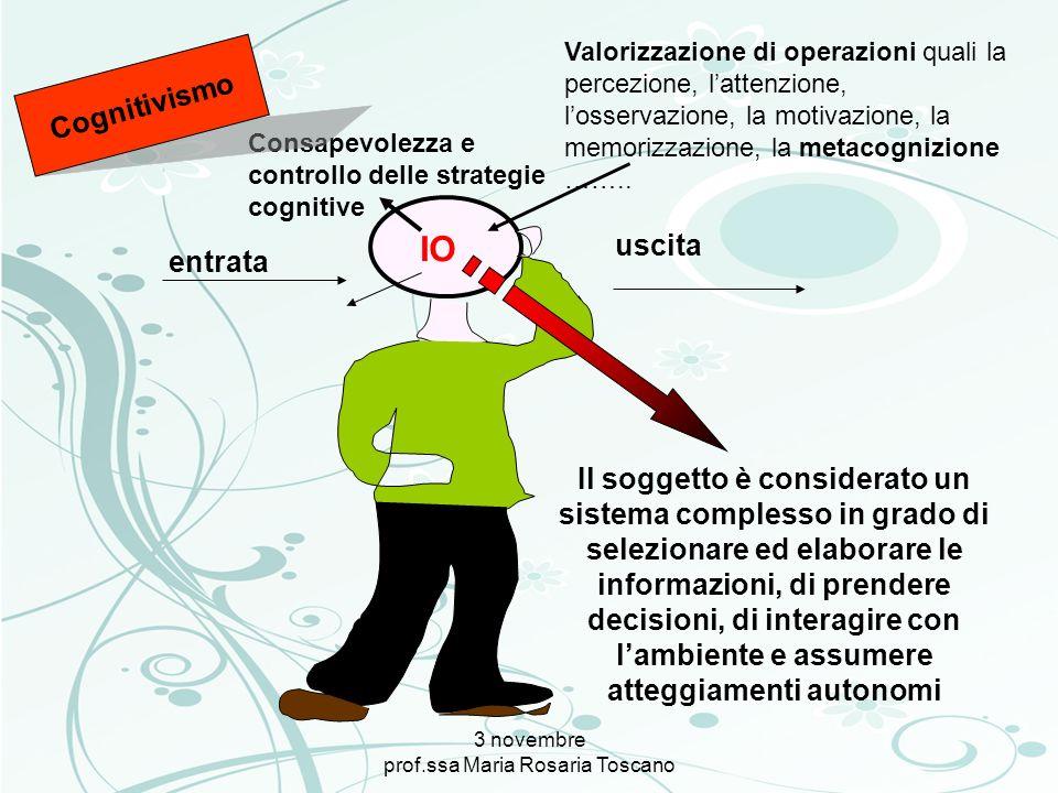 3 novembre prof.ssa Maria Rosaria Toscano entrata uscita Consapevolezza e controllo delle strategie cognitive Valorizzazione di operazioni quali la pe